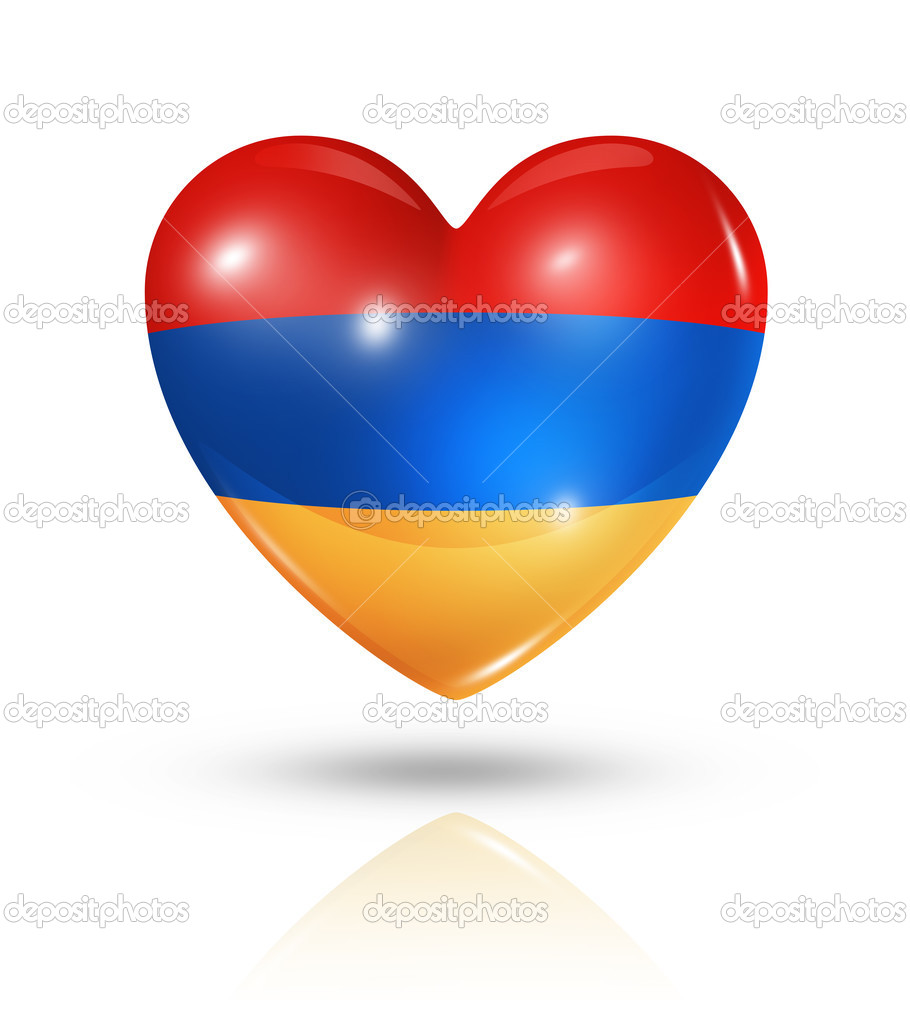 Love Armenia Symbol. 3D Heart Flag Icon Isolated On White With Clipping Path